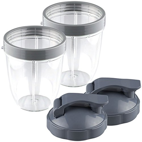 PRO BLADE Replacement 18 Oz Cup Set with Flip Top To Go Lid - For Nutri Bullet 600W 900W 2-Pack
