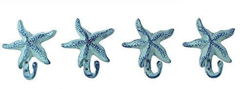 Iron Starfish Hook 5.5' by 4'- Blue Set of 4 Starfishes
