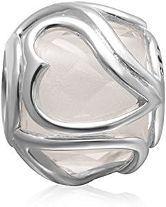 Hoobeads - Abalorio de plata de ley 925 con forma de corazón y cristal de Murano para pulsera europea