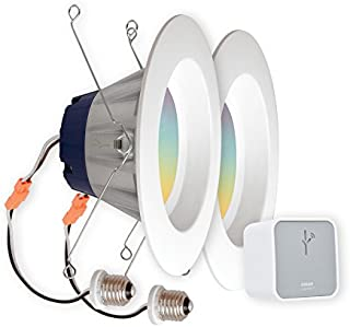 SYLVANIA LIGHTIFY Starter Kit, Includes 2 LIGHTIFY ZigBee Full Color RT 5/6 Recessed Lights, 65W Equivalent, and 1 OSRAM LIGHTIFY Gateway