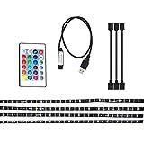 OKblacety Retroilluminazione TV Illuminazione polarizzata TV HD Alimentato Tramite USB Striscia LED RGB Multicolore da 2 m SMD 5050 Impermeabile con Telecomando RF for TV da 40 Pollici a 65 Pollici