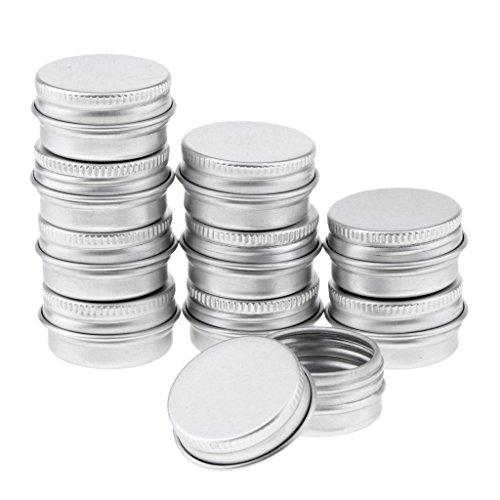 Hellery Kit de 5pcs Vide Pots de Voyage en Aluminium Conteneurs Cosmétiques Rondes pour Baume Bougie Stockage - argent, 5ml 10pcs