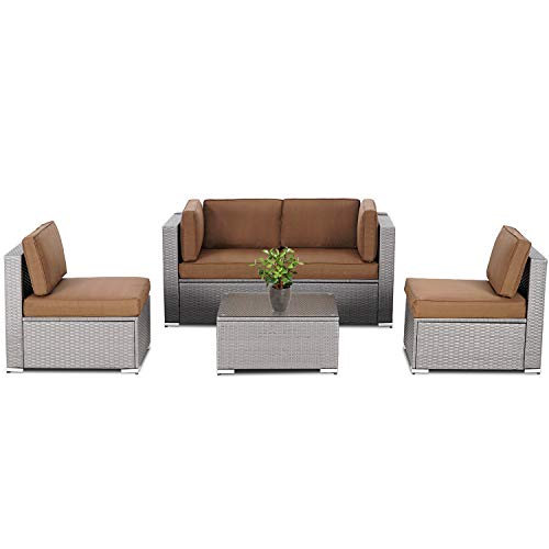 Patiomore 5 Piece Patio Outdoor Furniture Set, All-Weather Grey Wicker Rattan Sectional Conversation Sofa with Glass Table for Backyard Porch Garden Poolside Balcony(Coffee Brown Cushion)