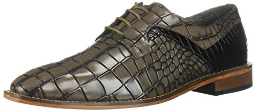 STACY ADAMS Men's Triolo Croc Lizard Print Lace-Up Oxford, Black/Gray, 7 M US