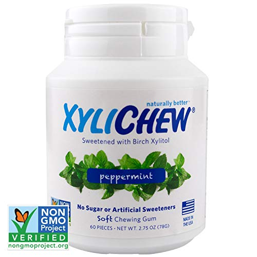Xylichew 100% Xylitol Chewing Gum Jars - Non GMO, Gluten, Aspartame, and Sugar Free Gum - Natural Oral Care, Relieves Bad Breath and Dry Mouth - Peppermint (60 Count, Pack of 4)