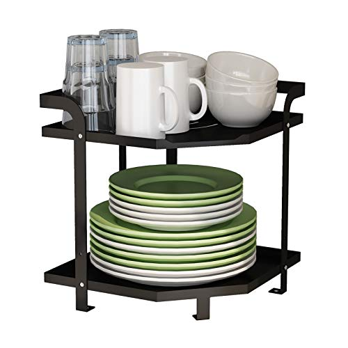 Apsan 2-Tier Kitchen Corner Organizer Shelf, Coffee Tea Bar Counter Shelf Kitchen Countertop Organizer Rack for Dishes Plates Pot Spice Can Sauce Jars - Black