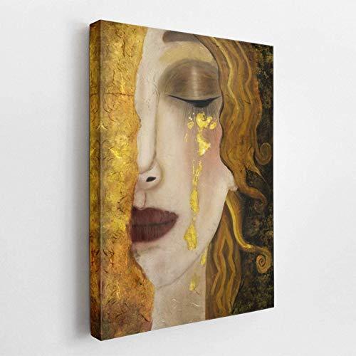 SXXRZA Canvas print 19,7×27,6 inch (50x70cm) geen frame Freya's tranen – Gustav Klimt klaar om op te hangen, Hand…