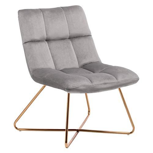 Duhome Sessel Stuhl Gestell Golden gesteppt Lounge Sessel Polsterstuhl Lehnstuhl 8098, Farbe:Grau, Material:Samt