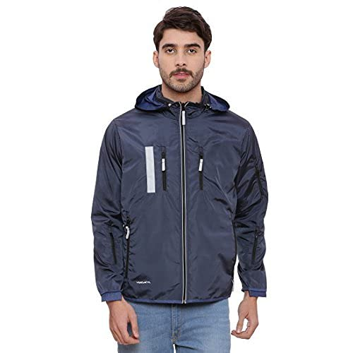 VERSATYL Men's Lightweight Travel Jacket with 18 Pockets and 29 Features – Hooded, Water-Resistant, Hidden Pocket, Full Sleeves, Packable, Full-Zip Windbreaker Coat (Navy and Aqua Blue, L)