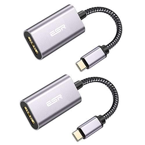 ESR Adaptador USB C a HDMI 4K[Thunderbolt 3], 2 Pack Adaptador USB Tipo C a HDMI Nylon Trenzado Compatible con iPad Pro/iPad Air 2020, MacBook Pro/Air, Galaxy S20/S20+/S10/S9/Note 10, Huawei P30 Pro