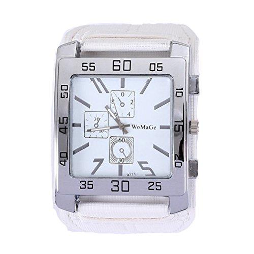 Womage W087 mit drei Augen Dekorative Quadrat-Uhr echtes Leder-Band Unisex-beiläufige Uhr Weiß