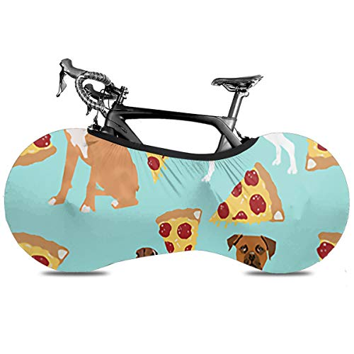 Utdestine Bicycle Wheel Cover Boxer Dog Pizza Universal Elastic Indoor Anti-Dust Mountain Bike Storage Bag For Road Bike, Portable Bicycle Cover Keeps Floors And Walls Dirt-Free