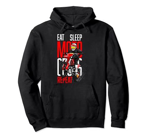 Eat Sleep Motocross Repeat Frase para Amantes del Motocross Sudadera con Capucha