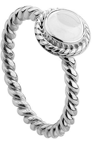 Nenalina Damen Ring Silberring besetzt mit 6 mm weißem Bergkristall Edelstein, handgearbeitet aus 925 Sterling Silber, Gr. 58-212999-099-58