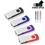 Memoria USB de 16 GB, memoria flash de 16 GB, diseño giratorio, disco para ordenador portátil, PC o coche, 4 colores surtidos (16GB)