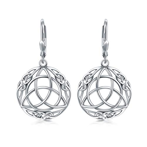 Sterling Silver Triquetra Trinity Celtic Knot Dangle Drop Earrings for Women Vintage Round Lucky Irish Celtic Jewelry