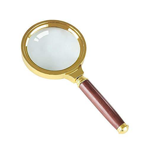 Vergrößerungsglas Handheld Lupe, 60mm 6X Gold Holzgriff Handheld Lupe Vergrößerungswerkzeug Glaslinse Lupe Lese Schmuck