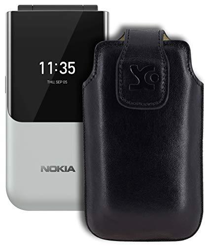 Suncase Original Tasche kompatibel mit Nokia 2720 Flip Hülle Leder Etui Handytasche Ledertasche Schutzhülle Hülle in schwarz