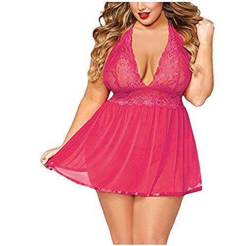 Dorical Unterwäsche Damen l negligée für / dorical nachtwäsche negligee satin sexy tiefen v-ausschnitt unterkleid nachtwäsche nachtwäsche sleeveless backless farben 6xl one m z01-hot-rosa
