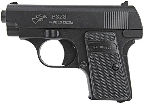 Nick and Ben Mini Softair-Pistole P328 Sport Gun Geheim Agent 1:1 Modell schwarz unter 0,5 Joule ab 14 Jahre 6mm Munition Magazin Kugeln Air-Soft Spielzeug-Waffe