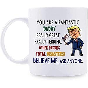 Regalo para papá Taza personalizada de Donald Trump Taza de café fantástica para papá Las mejores ideas de regalos para papá para cumpleaños/día // 11 oz Blanco