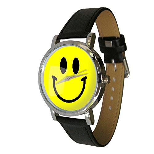 Your Watch Design Unisex Uhr Erwachsenengröße Analog Quarz mit Leder Armband Smiley