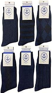 Men's Premium Textured/Patterned Dress Socks [6 Pack] Seamless Toe - COMFORTABLE! Navy/Black. Luxury Blend, Fits Sizes 8-12