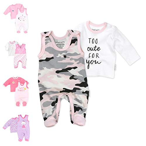 Baby Sweets 2er Baby-Set mit Strampler & Shirt für Mädchen/Baby-Erstausstattung in Rosa-Grau in Camouflage-Optik/Baby-Strampler als Babykleidung/Baby-Outfit aus Baumwolle/Größe: Newborn (56)