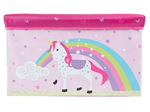Bieco Aufbewahrungsbox mit Deckel | Einhorn 60L, faltbar | ca. 60x30x35cm | Spielzeugkiste mit Deckel | Aufbewahrungsbox Kinder | Kisten mit Deckel | Aufbewahrungsbox Groß | Wickeltisch Organizer