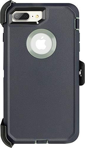 Krichit Defender Series Case for iPhone 7 Plus Defender Case Triple-Layer Protection Defense for iPhone 8 Plus Case, Defender Belt Clip Holster (iPhone 7/8 Plus, Maritime Blue TL)