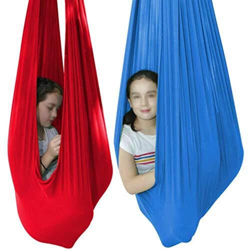 MTFZD Sensory Swing Hammock 2pcs Indoor Elastic Swing Children's Cuddle Hammock Ideal Snuggle Swing Hammocks For Autism ADHD (Color : Red, Size : 100 x 280 cm (L x W))
