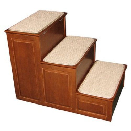Crown Pet Products Designer Carpeted High Pet Steps for Small and Large Dogs and Cats with Storage, Mahogany