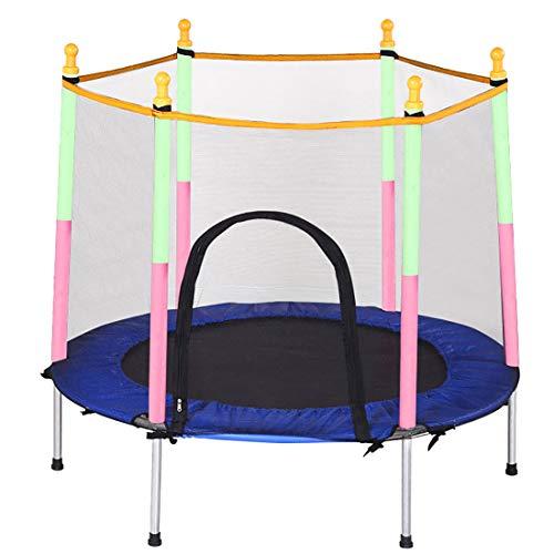Cama elástica para jardín de Moky, cama elástica para niños, con cabina de seguridad, para exteriores, color azul