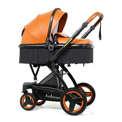 High Vista Baby kinderwagen, pasgeboren peuters 2 in 1 opvouwbare kinderwagens, multifunctioneel en veilig duwen op twee manieren, rubberen vierwielophanging