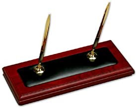 New Rosewood and Leather Double Pen Stand