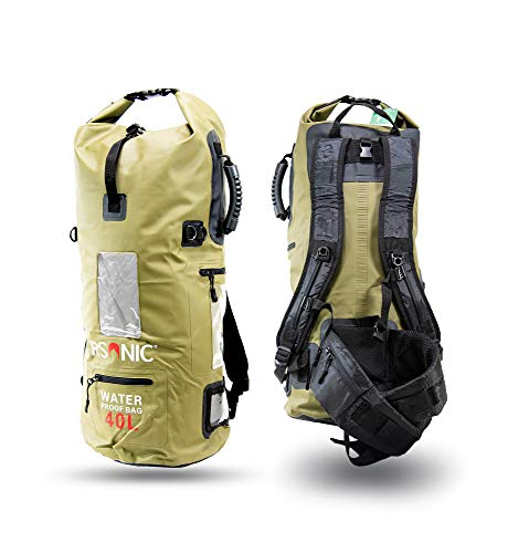 RSonic 40 Liter Dry Bag Wanderrucksack, wasserdichter Packsack gepolsterte Schulter-Gurte - Stausack Seesack - Wasserfester Rucksack - Kajak, Rafting, Segeln, Farbe: Grün