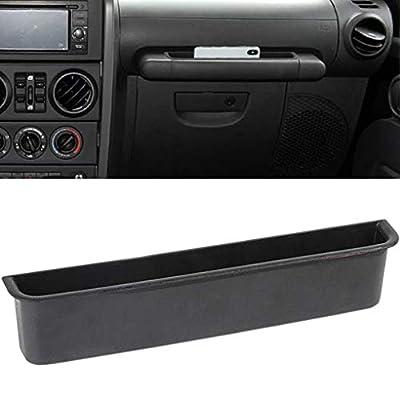 HITBEAM for Jeep JK GrabTray Passenger Storage Tray Organizer Grab Handle Accessory Box for 2007-2010 Jeep Wrangler JK JKU 2-door/4-door, Interior Car Accessories, Black