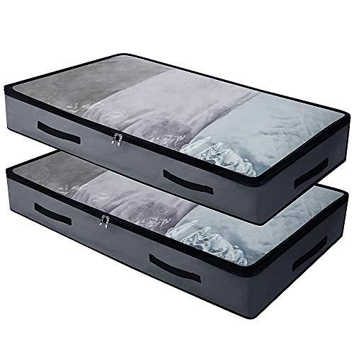 iwill CREATE PRO Weiche Unterbett-Aufbewahrungsbehälter mit 4 Griffen und transparentem Deckel für leichtes Auffinden, langlebiges Material, Faltbar, Oben sichtbar
