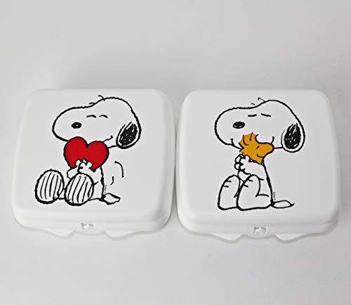 Tupperware to Go Sandwich-Box Weiss Snoopy (2) mit Herz + Vogel Pausenbrotbehälter Dose
