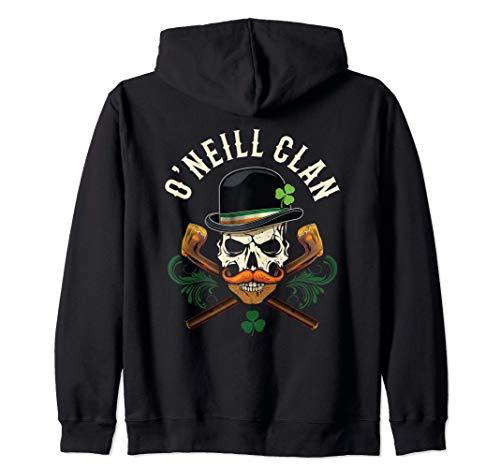 Familia irlandesa O'Neill Clan Biker Skull con Shamrock Sudadera con Capucha
