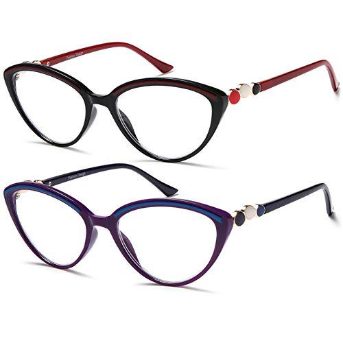 Gafas de lectura + 1,75 mujeres modernas – 2 unidades ojo de gato bloqueo de luz azul lectores de computadora filtro ligero (rojo morado)