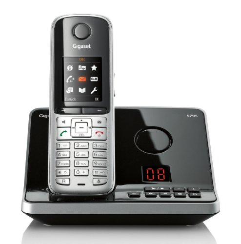 Gigaset S795 Schnurlostelefon mit AB (4,6 cm (1,8 Zoll) TFT-Bildschirm Freisprechen Adressbuch für 500 Eintraege Metall-Tasten Mini-USB) stahlgrau