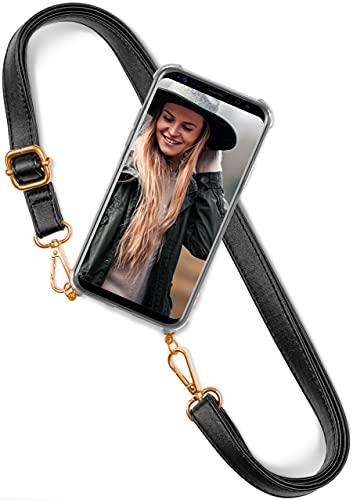 ONEFLOW Handykette 'Twist Strap' kompatibel mit Samsung Galaxy M31 Hülle zum Umhängen transparent, Handyhülle mit Band Vegan Leder, Silikon Schutzhülle Kette abnehmbar - Schwarz