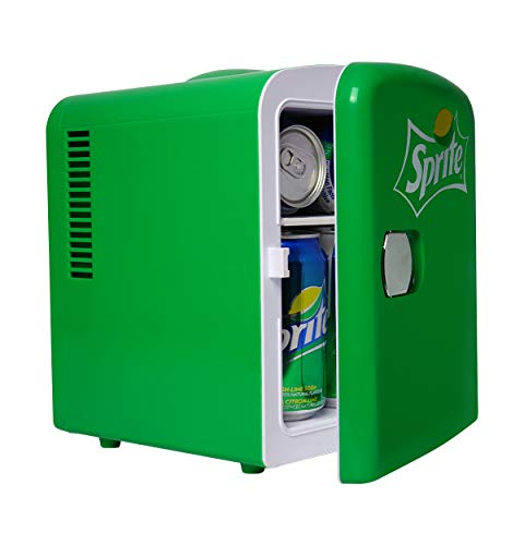 Coca Cola Sprite Portable 6 Can Thermoelectric Mini Fridge Cooler/Warmer, 4 L/4.2 Quarts Capacity, 12V DC/110V AC Plugs Included Great for Home, Car, Skincare, Cosmetics, Medication, ETL Listed
