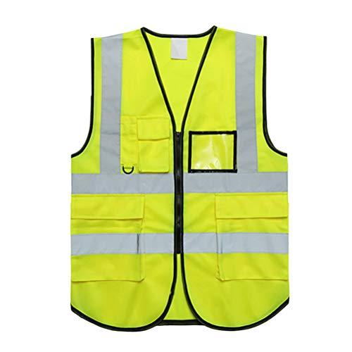 Chaleco Reflectante con Bolsillos Color Fluorescente Luminoso Chaleco de Seguridad con Tiras Reflectantes Cremallera Amarillo Tamaño estándar