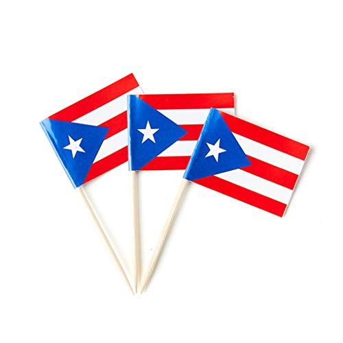 Puerto Rico Flag Puerto Rican Small Toothpick Mini Cupcake Flags Decorations (100 Pack)