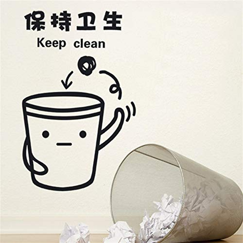 Cartoon Mülleimer Aufkleber, um hygienisch entfernbare umweltfreundliche geschnitzte Wandaufkleber 33x57cm zu halten