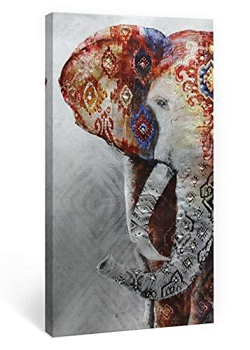 SUMGAR Cuadros en Lienzo Mandala Animal Elefante Africano con Diamantes Brillante Diseño Modernos Boho de Decoración Hogar Salon Dormitorios - 40 x 80 cm