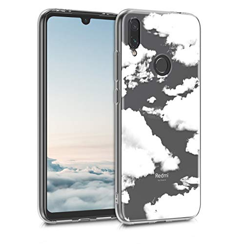 kwmobile Funda Compatible con Xiaomi Redmi Note 7 / Note 7 Pro - Carcasa de TPU y Nubes celestes en Blanco/Transparente