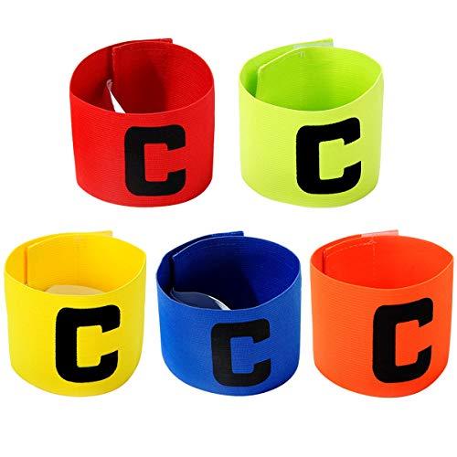 Captain Armband 5stuck Multicolor Fußball Kapitänsbinde Gummizug Armband Klettverschluss Verstellbare für Erwachsene Jugend Junior Größe Fußball Elastic Armbinden Geeignet für Viele Sportarten